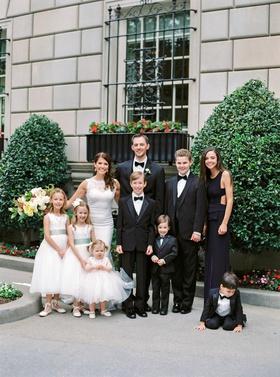 Wedding portrait photos flower girls ring bearers honor attendant tuxedos bow ties white dresses