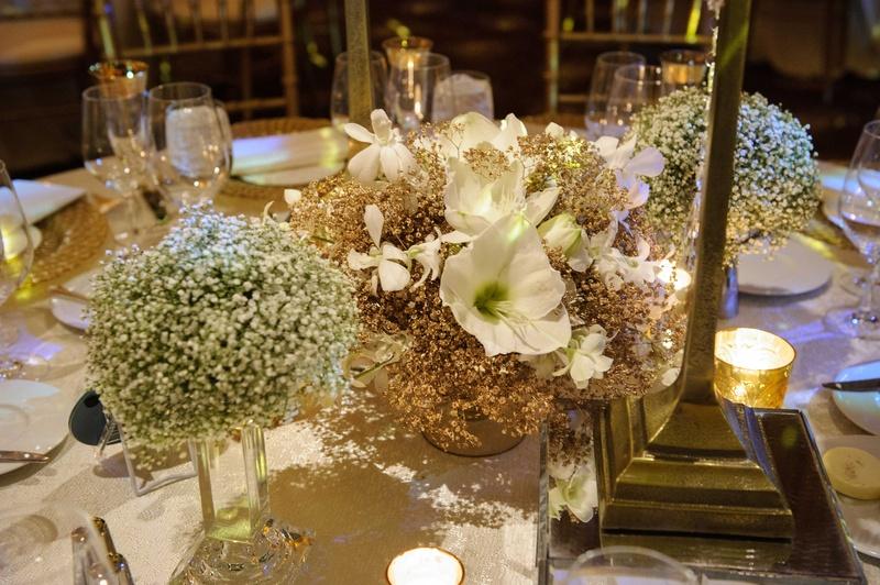 reception d cor photos gilded baby 39 s breath floral centerpieces inside weddings. Black Bedroom Furniture Sets. Home Design Ideas