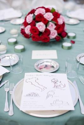 Calligraphy child menu at wedding reception