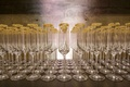 row of champagne flutes rimmed with gold sugar