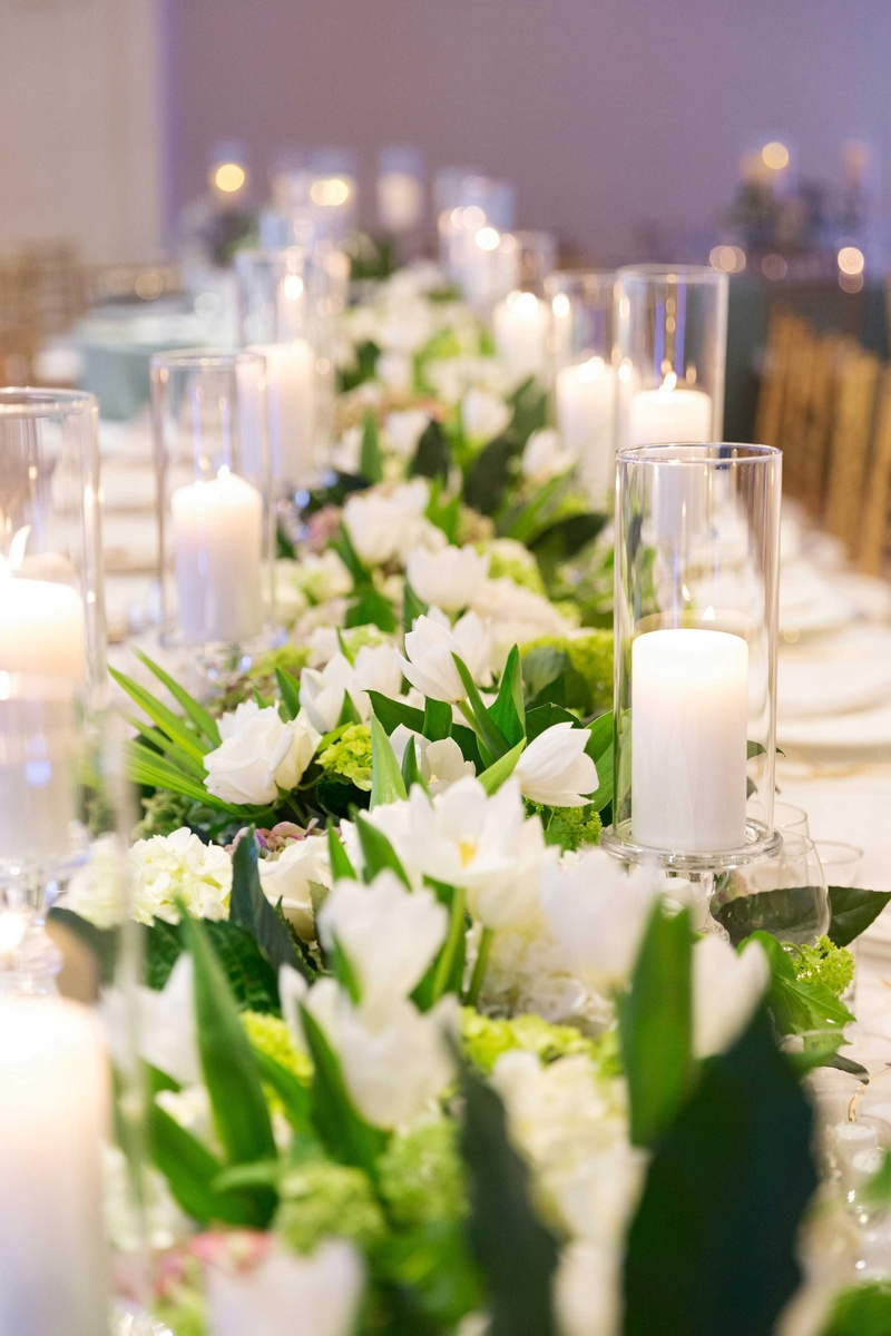 Reception Dcor Photos Long White Green Floral Runner Inside