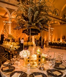 vibiana wedding reception, gold spray painted eucalyptus leaves, gold stand