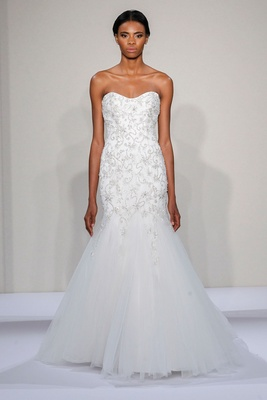 Dennis Basso 2016 strapless drop waist mermaid wedding dress with floral embroidered bodice