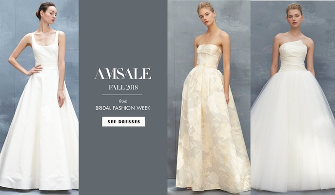 c2829e98a11 Stunning Structured Styles from Amsale Fall 2018. Clean lines with jeweled  embellishments from the popular designer.