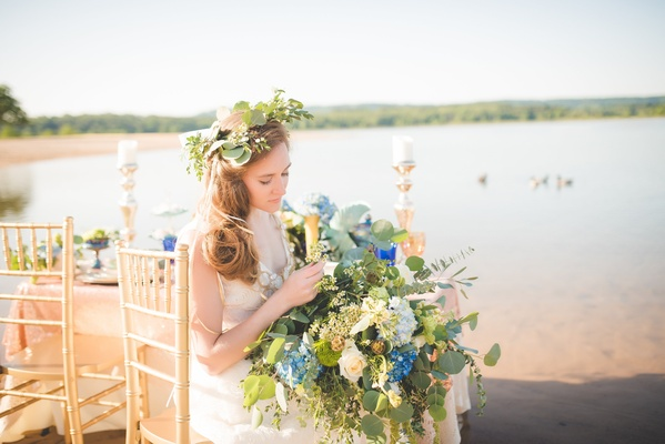 bride wearing flower crown with greenery, greenery bouquet