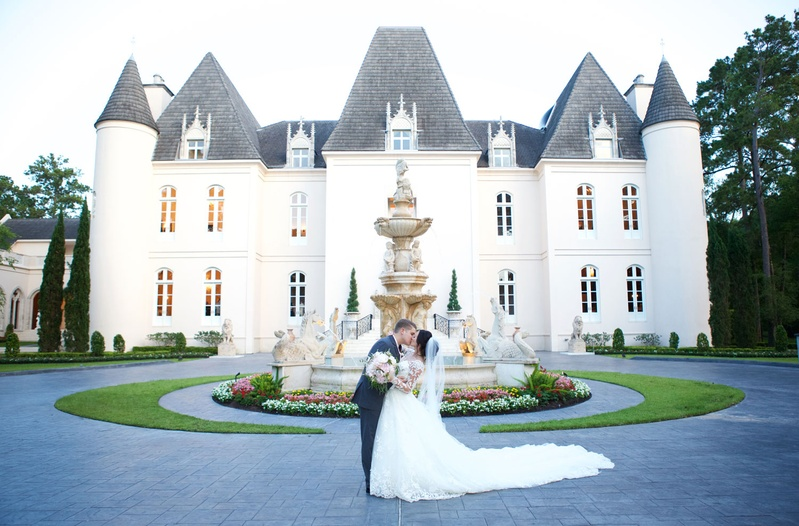 Chateau wedding venue in Houston, Texas bride in cathedral length train dress