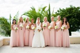 Bride in v neck carolina herrera wedding dress with light pink bridesmaid dresses floor length