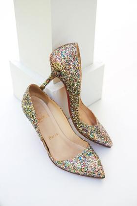 wedding shoes christian louboutin sparkle glitter heels pink green gold silver glitters