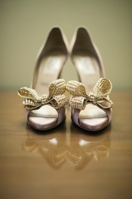 Valentino bow heels with pearls for wedding day