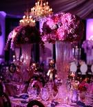 wedding reception centerpiece crystal riser candle votives hot pink purple flowers