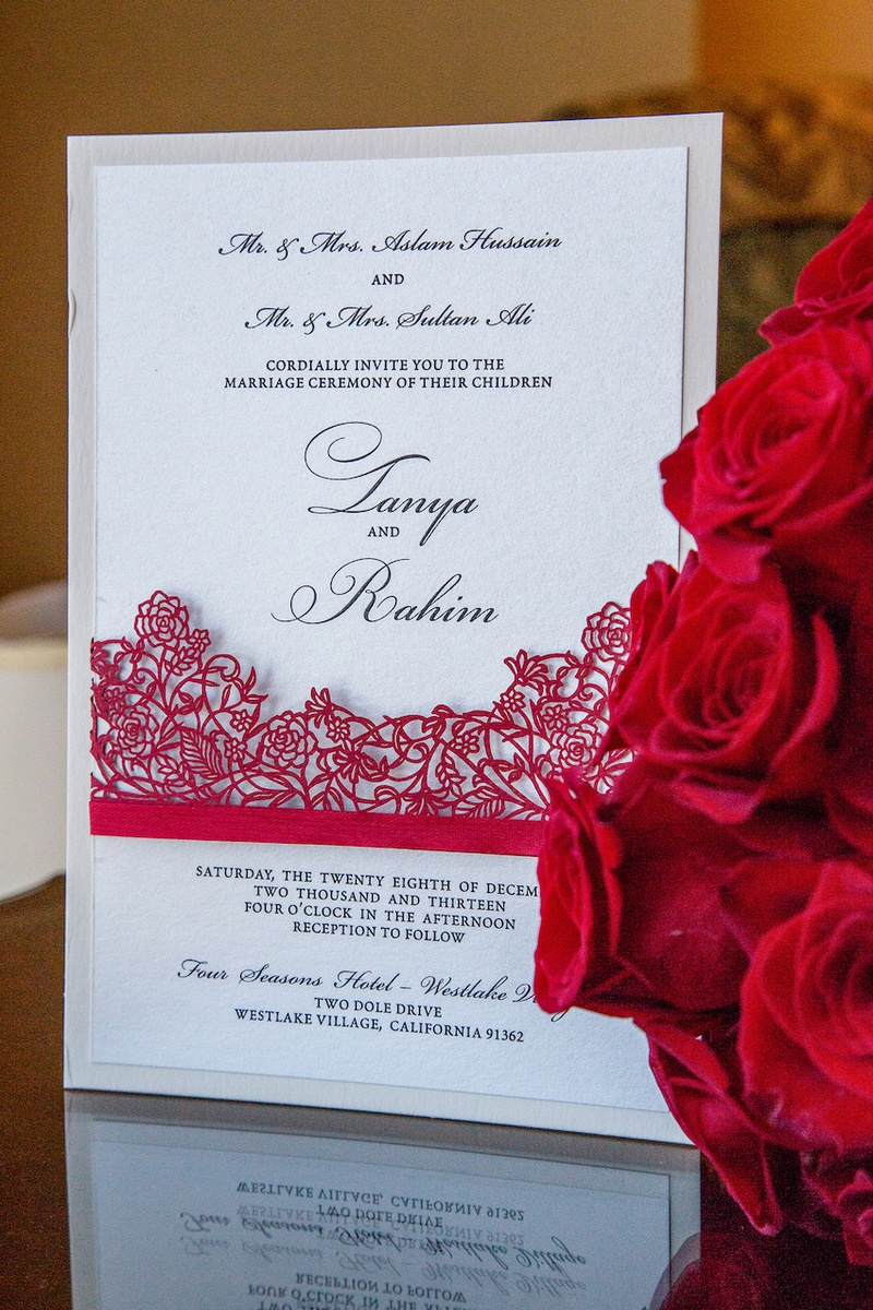 """Laser-cut """"lace"""" wedding invite with shimmer paper"""