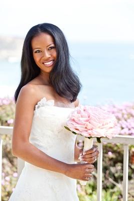 Straight wedding hair on African American bride