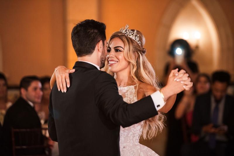 bride in hayley paige wedding dress groom in tuxedo second tiara first dance ballroom