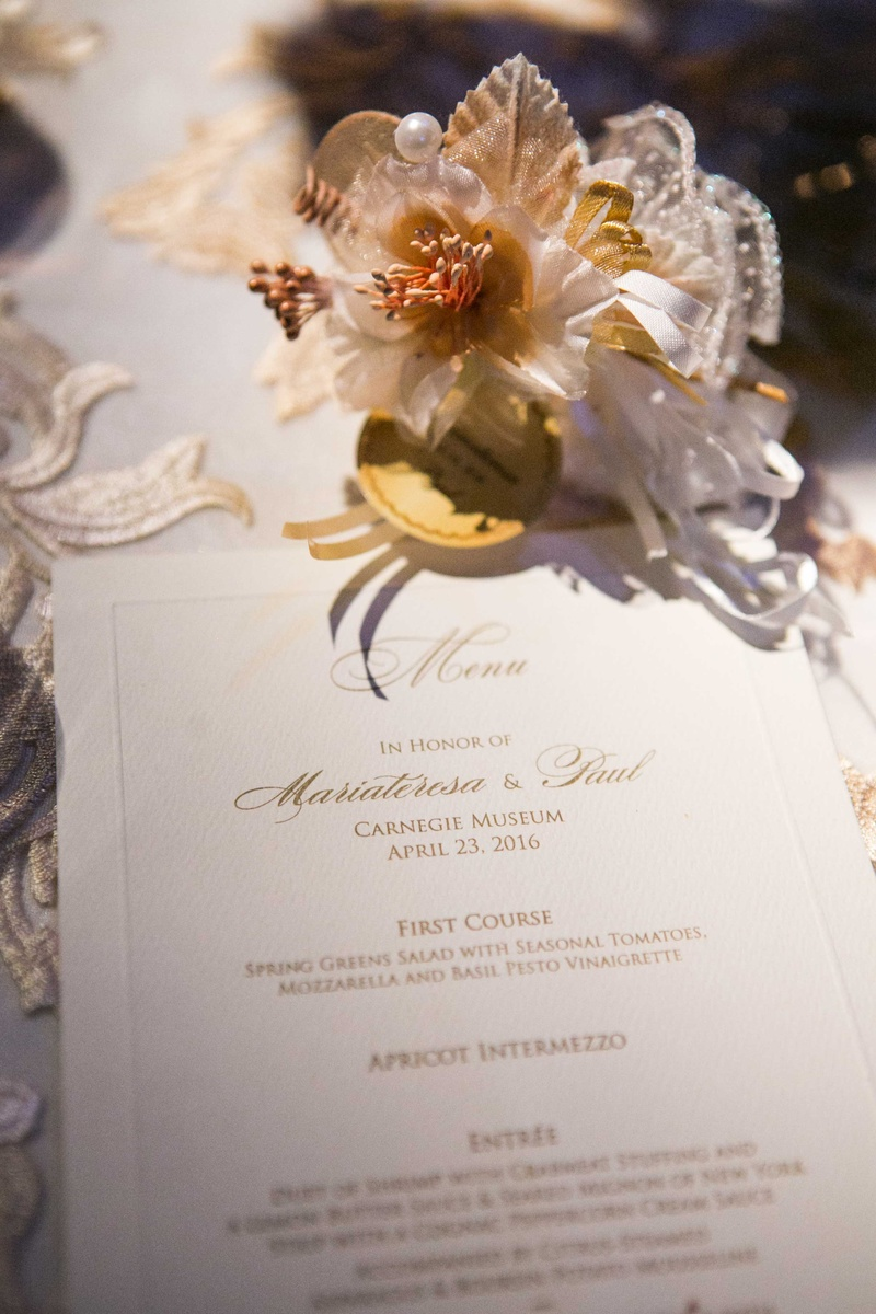 gold and white menu fake flower adornment roman catholic wedding reception food pittsburgh carnegie
