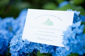 Wedding stationery with reception information on blue hydrangeas