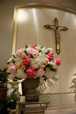 Coral Colored Flower Arrangements Catholic & Hindu C...