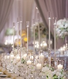 long arrangement glass candles floral runner shimmering linen greenery classic wedding reception