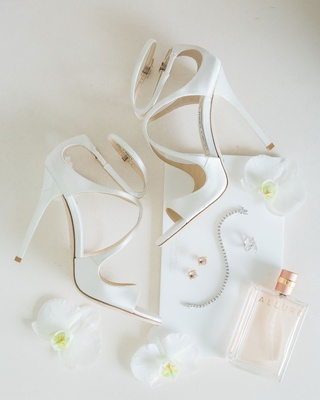 custom jimmy choo bridal shoes in white with two ankle straps