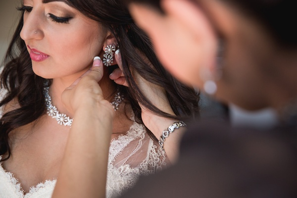 sparkling crystal pearls bridal makeup getting ready