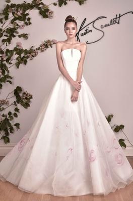 Austin Scarlett Strapless A Line Ball Gown With Pink Flower Print Skirt
