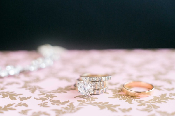Large round diamond engagement ring yellow gold three side stone diamonds gold men's band