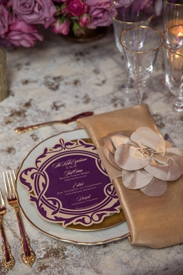 circular purple gold menu vine designs bold feminine wedding styled shoot dinner paper product regal