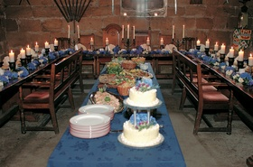 Horseshoe shaped wedding seating at reception