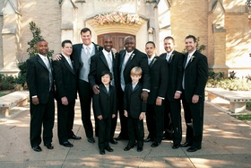 male wedding party members silver vests photo