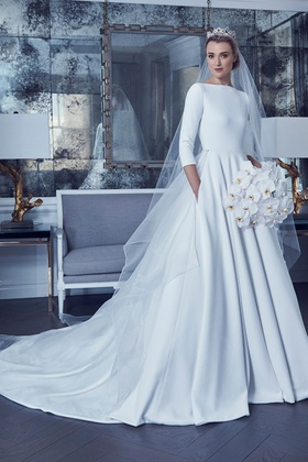 Romona Keveza Spring 2019 collection crepe ball gown with bateau neckline and 3/4 sleeves