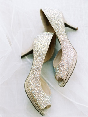 Kelly and Katie shoes rhinestones gold metallic peep toe pumps on veil