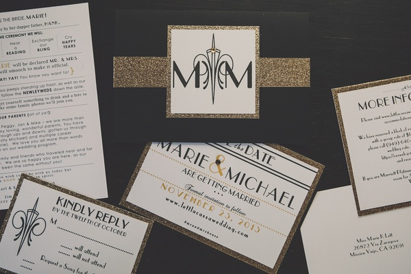 Great Gatsby-inspired wedding invites and save-the-date