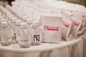 dunkin donuts wedding favors, mini bottles of water with monogram, wedding hashtag