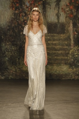 """bias cut """"portia"""" dress with beading and sheer cap sleeves by Jenny Packham"""