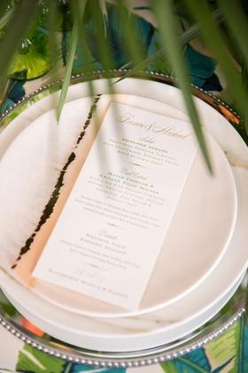 Simple menu card with green lettering letterpress design tropical linen print