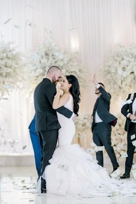 armenian wedding traditions, money dance, bride in ines di santo wedding dress