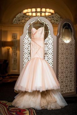 Wedding dress mark zunino blush and white champagne asymmetrical draping zig zag mermaid skirt