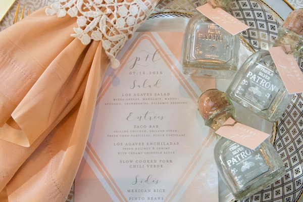 Wedding menu pink pink napkin mini patron bottles of tequila wedding favors