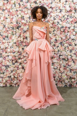 Michael Costello spring summer 2018 bridal couture collection pink strapless dress flower embroidery