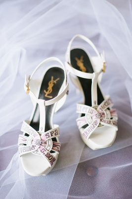Wedding shoes YSL yves saint laurent strappy sandals open toe with handpainted design purple pink