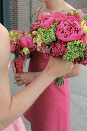 Hot pink, yellow, and celadon flowers