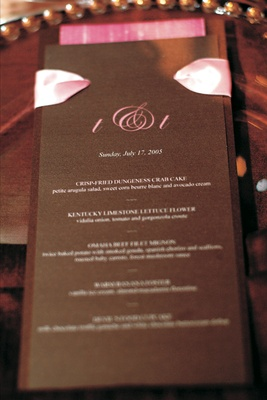 Chocolate-colored paper with pink lettering