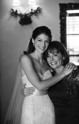 Black and white photo of Genevieve Cortese with mother