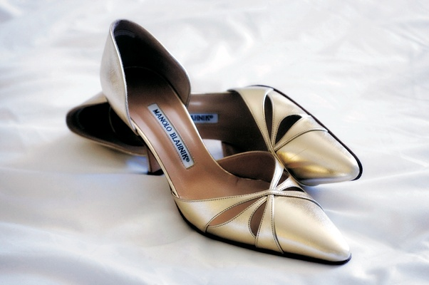 Gold Manolo Blahnik pumps wedding shoes