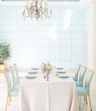 The Confused Millennial blush linen light blue chairs blue wallpaper palm beach wedding reception