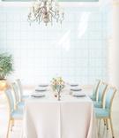 The Confused Millennial blush linen light blue chairs blue wallpaper palm beach wedding reception