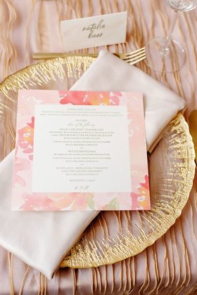 wedding reception gold charger plate pink coral flower print menu card square salad choice of entree