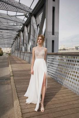 Limor Rosen 2017 Olivia wedding dress with high neck lace sheer sleeveless top and slit skirt