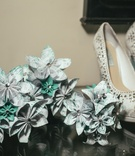 Betsey Johnson rhinestone peep-toe wedding shoes