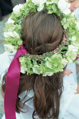 Green and white flower crown for flower girls