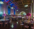 Pink and blue reception lighting at Los Angeles Union Station venue